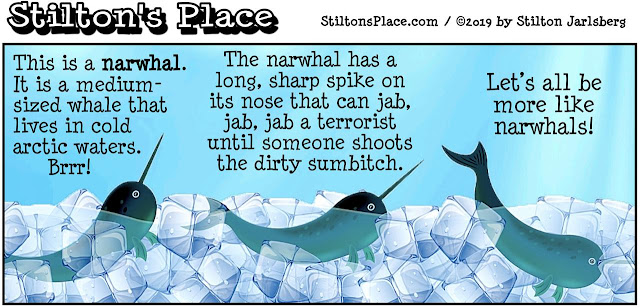 stilton's place, stilton, political, humor, conservative, cartoons, jokes, hope n' change, terror, london bridge, narwhal, tusk