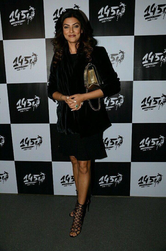 Sushmita Sen Hot Legs Thigh Stills In Mini Black Dress