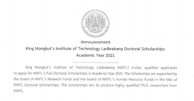 Master & PhD Scholarships at King Mongkut's Institute of Technology Ladkrabang, Thailand