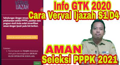 Cara Verval Ijazah di Info GTK untuk Guru Non PNS untuk Persiapan Seleksi PPPK 2020