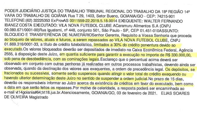 Herança maldita! Vila Nova vai ter que pagar 330 mil a jogador que nem chegou a vir em Goiânia
