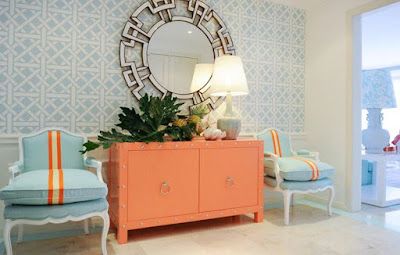 Entryway with pastel colors blue and orange decoration