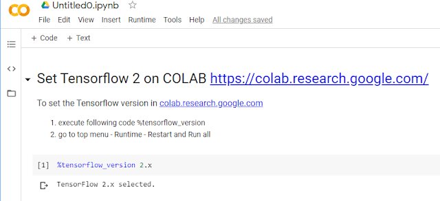 colab.research.google tensorflow 2 version
