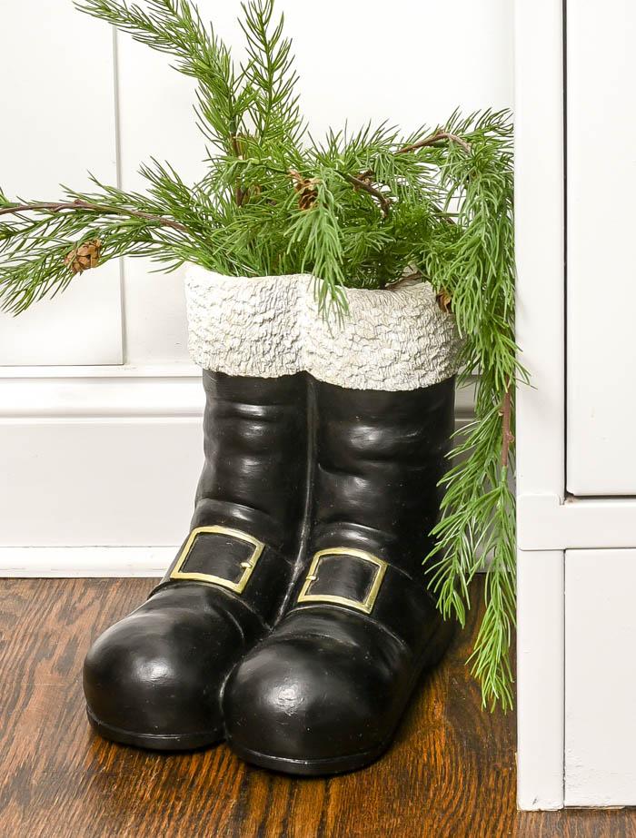 Santa boots and greenery