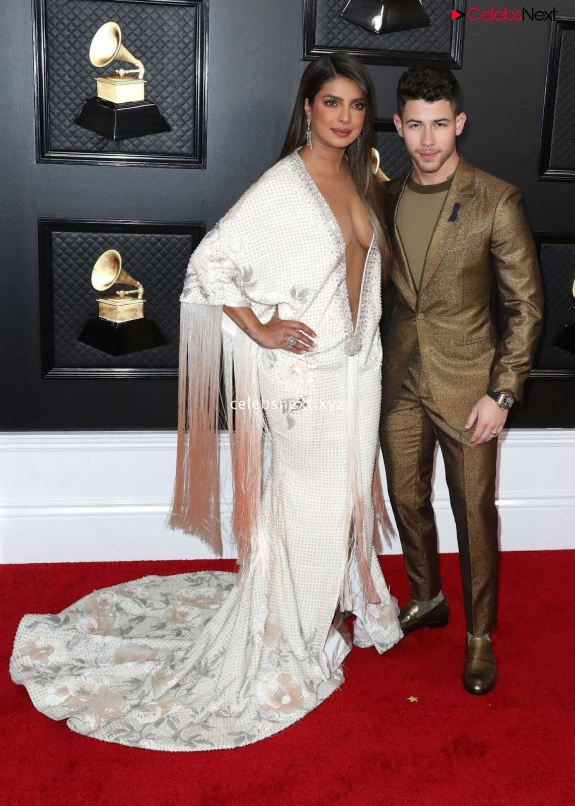 Priyanka CHopra in Lovely Evening Gown without Front Buttons at Grammy Awards 2020