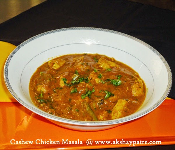 chicken with cashew nut masala is ready to serve