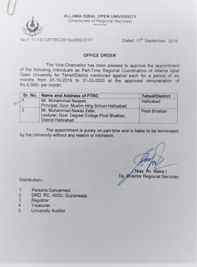 APPOINTMENT OF PART TIME REGIONAL COORDINATORS OF AIOU FOR HAFIZABAD