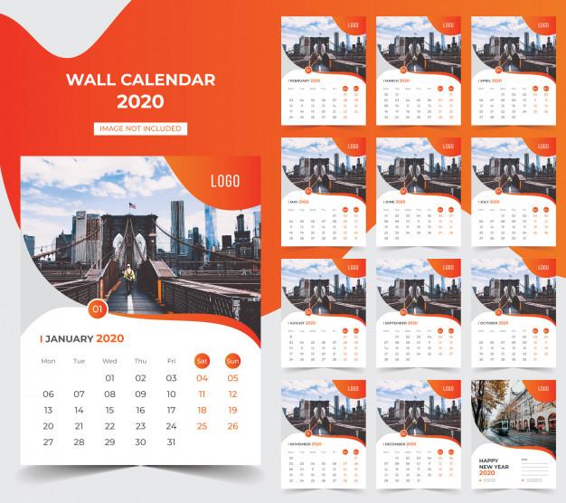 Wall calendar 2020 Premium Vector