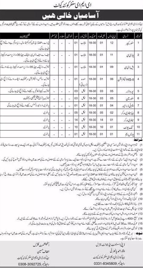 Pak Army Jobs 2021 - Headquarter EME Center Quetta Cantt Jobs 2021 - Latest Govt Jobs 2021 - Jobs in Quetta 2021