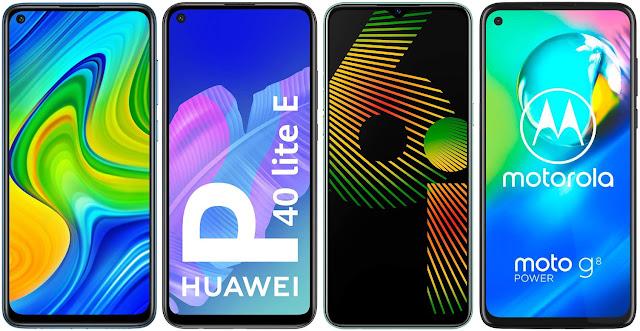 Xiaomi Redmi Note 9 vs Huawei P40 Lite E vs Realme 6i vs Motorola Moto G8 Power