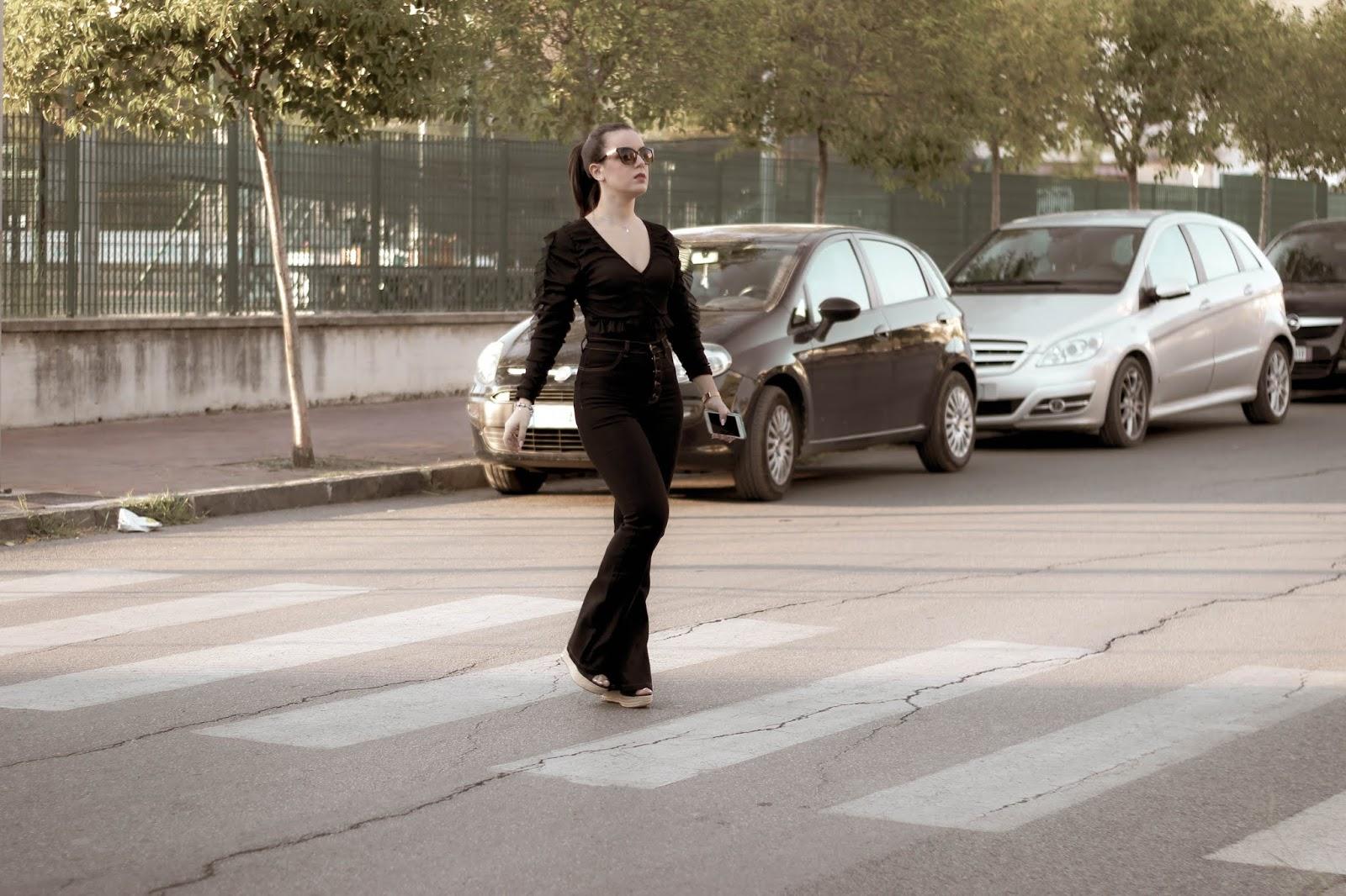 Black Ruffle Long Sleeve Bodysuit