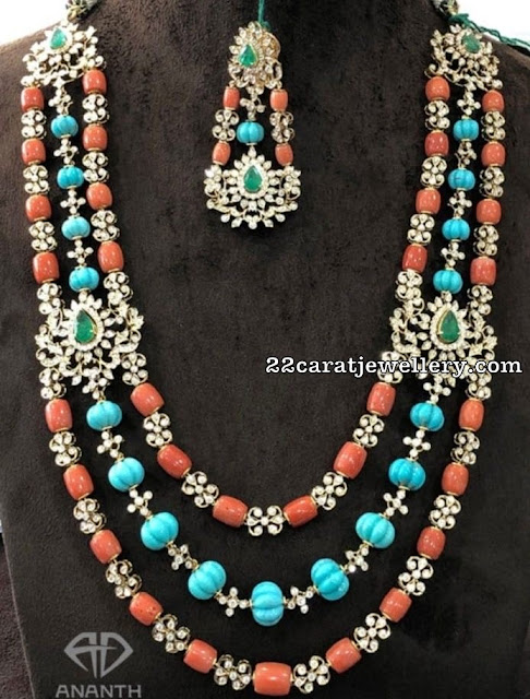 Turquoise and Coral Beads Set