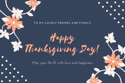 Happy Thanksgiving Day written on flower graphics background.
