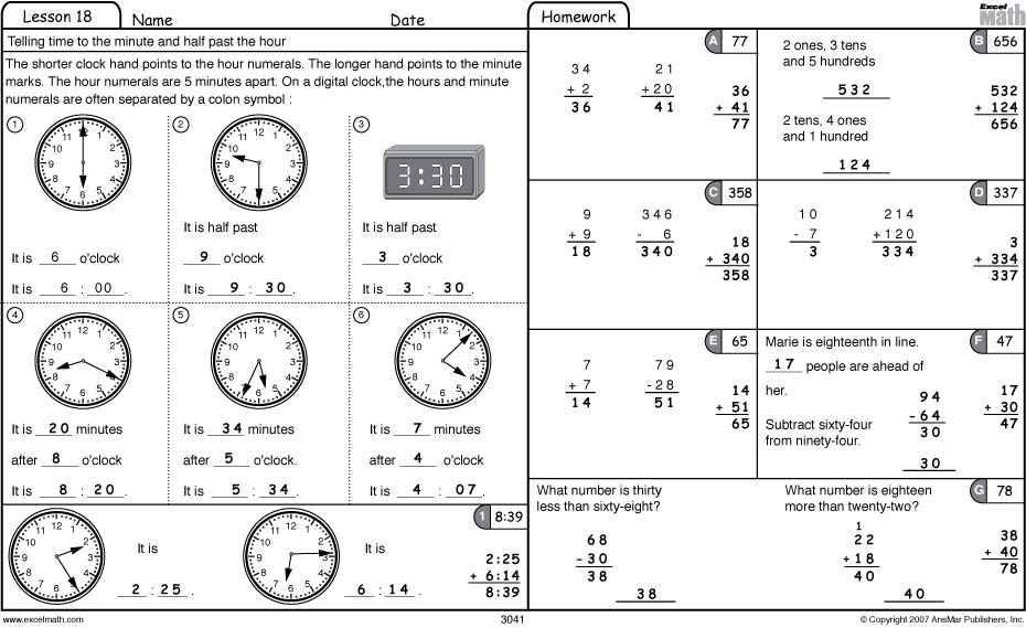 Excel Math Time For Analog Clocks