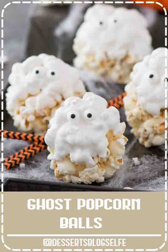 5 ingredient GHOST popcorn balls! Our family loved making this easy halloween treat! #DessertsBlogSelfe #halloweentreat #ghostpopcornballs #popcornballs #ghost #FallDesserts #videos #halloween