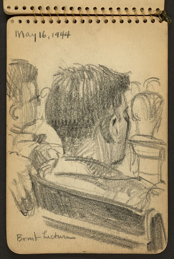 21-Year-Old WWII Soldier's Sketchbooks Show War Through The Eyes Of An Architect - Soldiers Listening To Lecture While Stationed At Fort Jackson, South Carolina