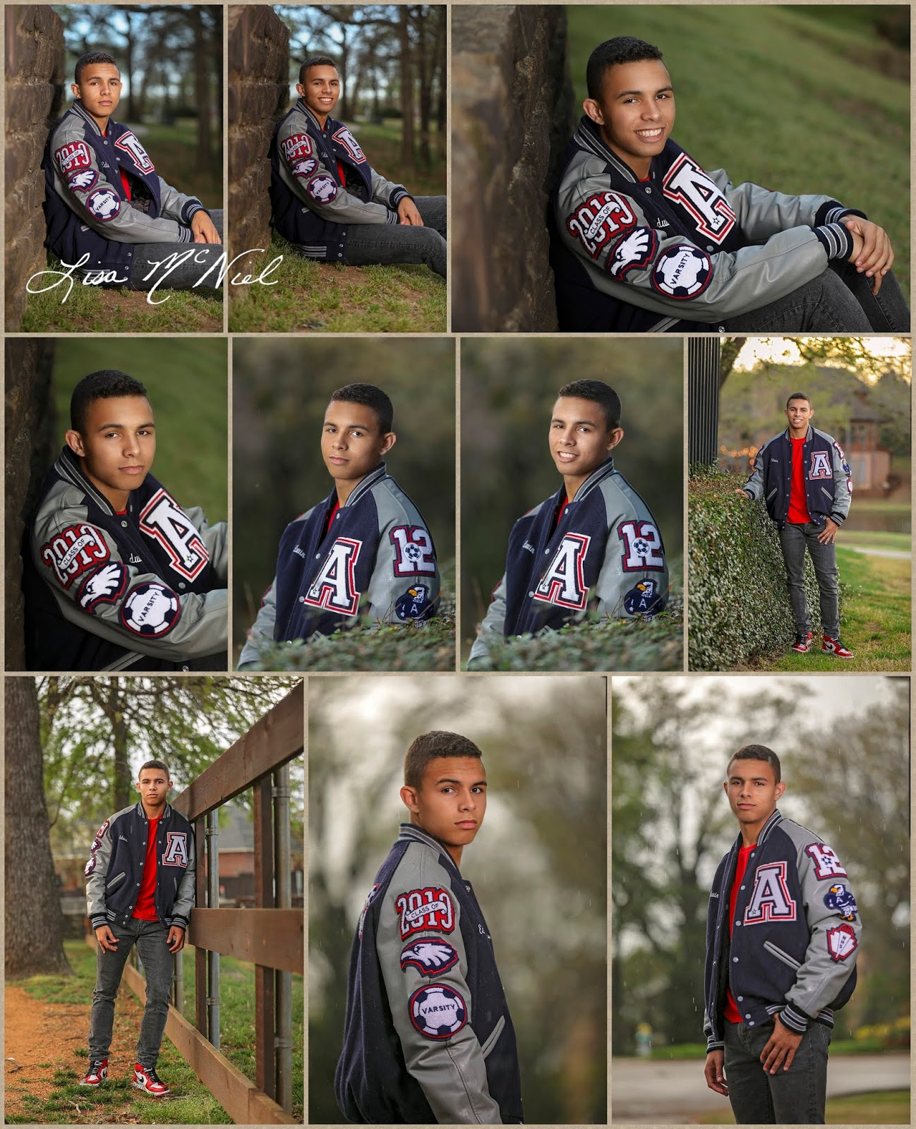 teen boy in letter jacket poses