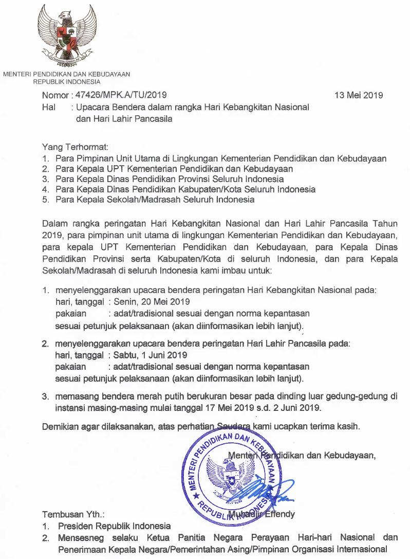 Surat Edaran Mendikbud Upacara Bendera Dalam Rangka
