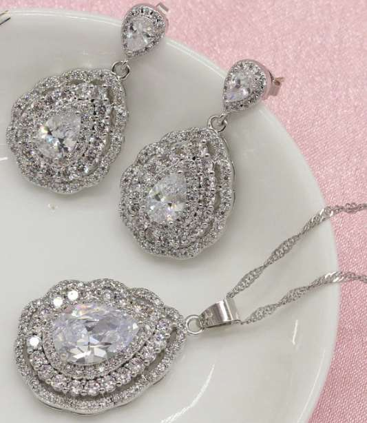 Women Silver Jewelry Sets Necklace Drop Earrings Bracelet Ring White Cubic Zirconia