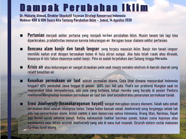 Dampak Perubahan Iklim, Dr. Mubariq Ahmad, Direktur Eksekutif Yayasan Strategi Konservasi Indonesia  - Webinar KBR & IIDN Suara Kita Tentang Perubahan Iklim – Jumat, 14 Agustus 2020 | © JelajahSuwanto | © JelajahSuwanto