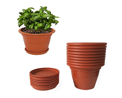 Meded Siti Plast 10 Inch Heavy Duty Plastic Planter Pots With Bottom Tray Pack Of 9