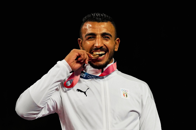 Egypt's Kesho after winning a medal in Tokyo 2020