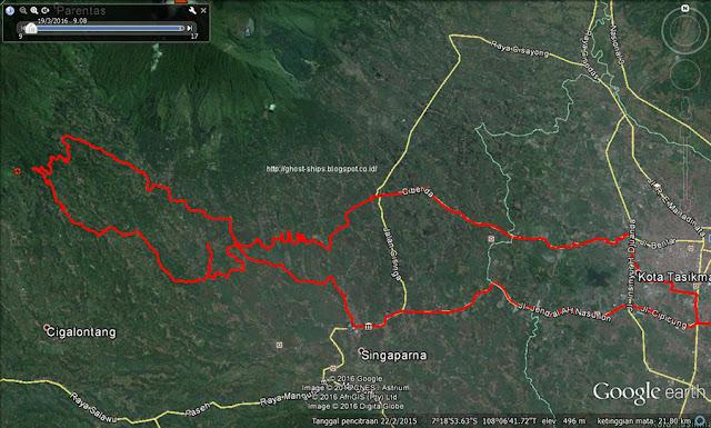 Screen capture google earth rute trail advefnture lereng Gn. Galunggung.