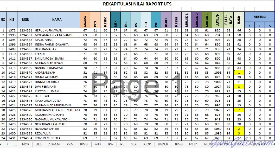 Aplikasi Raport Uts Sd Smp Sma Ktsp Amp Kurikulum 2013