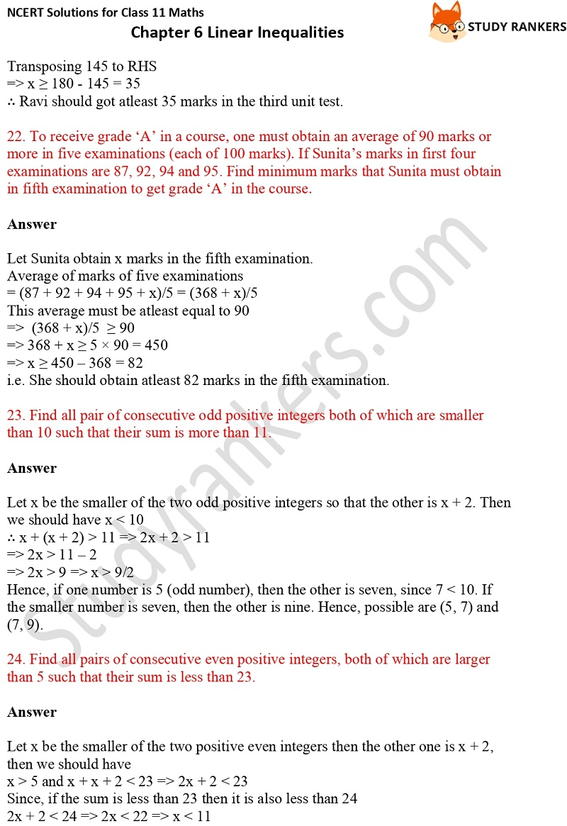 NCERT Solutions for Class 11 Maths Chapter 6 Linear Inequalities 8