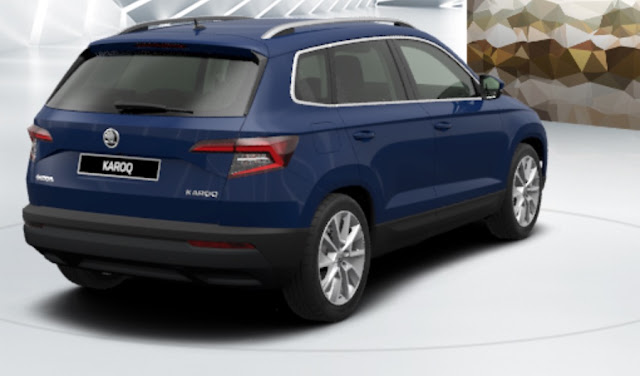 skoda karoq colore blu energy vista posteriore laterale