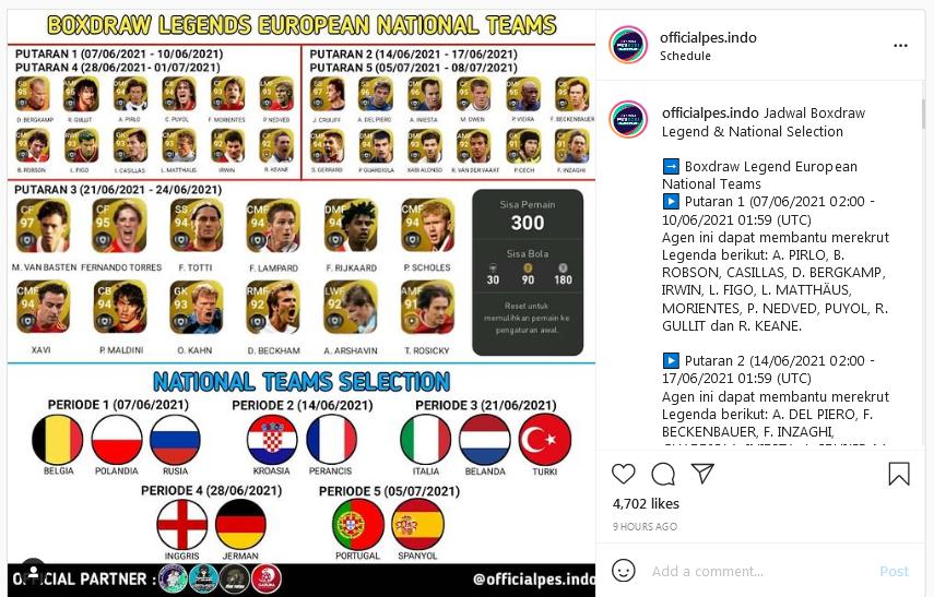 Apa Isi Agen Box Draw Legend eFootball PES 2021 Sambut Euro 2020? Cari Tahu Di Dipopedia.com