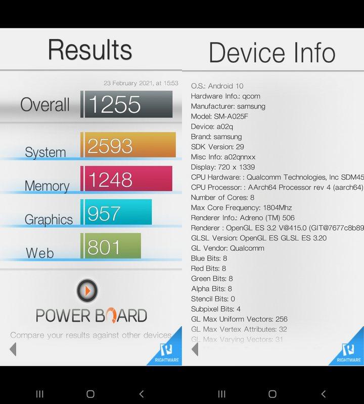 Benchmark Basemark OS II Samsung Galaxy A02s
