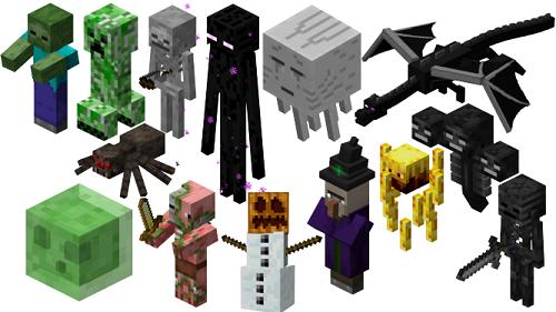 Khối hệ thống mob đóng góp thêm phần rất cao làm cho sức sống động cho Minecraft