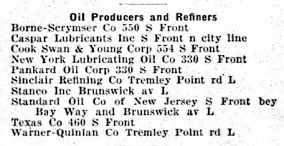 Oil Producers and Refineries listed in the Elizabeth, NJ city directory for 1930.