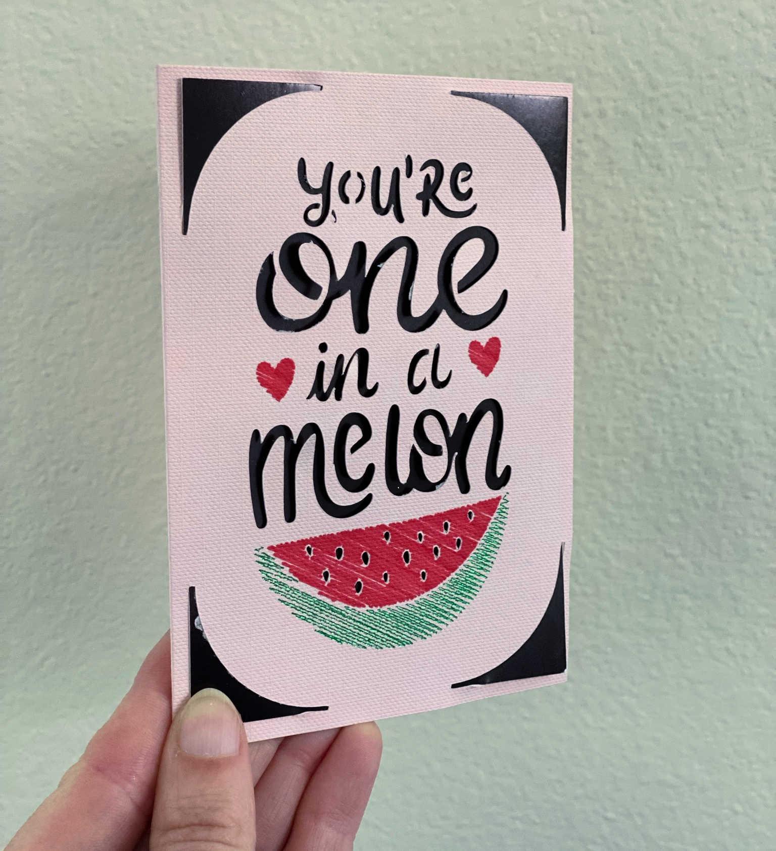 melon card with foil cricut joy