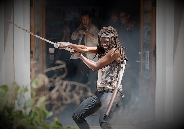 Michonne and her sword, The Walking Dead.