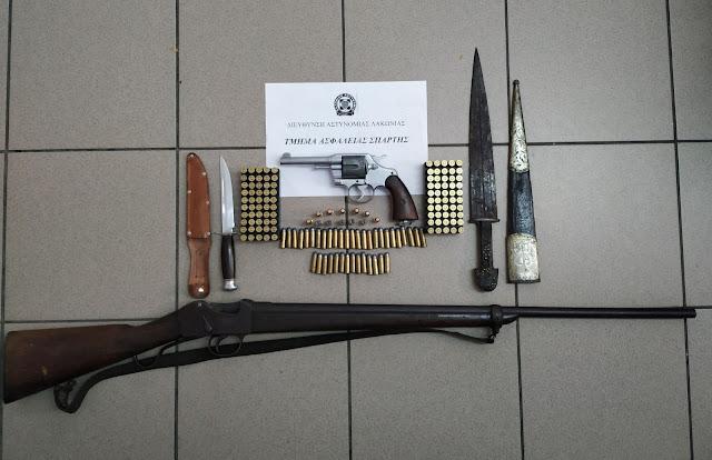 Συλληψη στη Σπάρτη για όπλα και αρχαιότητες