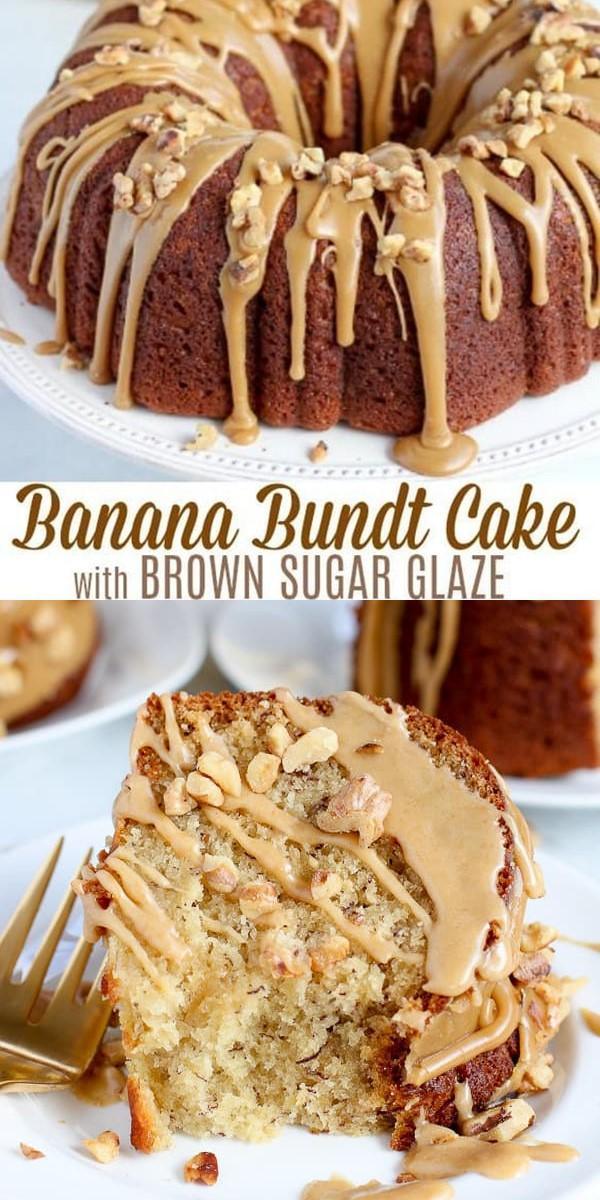 Banana Bundt Cake With Brown Sugar Glaze #Cakerecipes