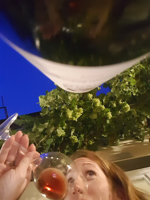 A woman drinks a glass of wine under vines full of grapes