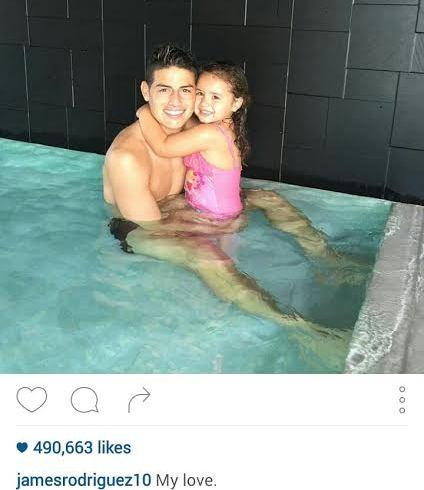 index James Rodriguez shares photo in the pool with his daughter