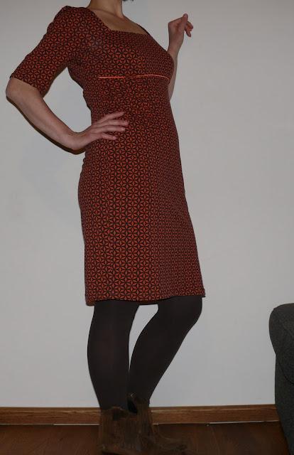 oranje retro jurk