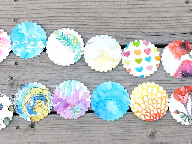 recycled watercolor paper garland