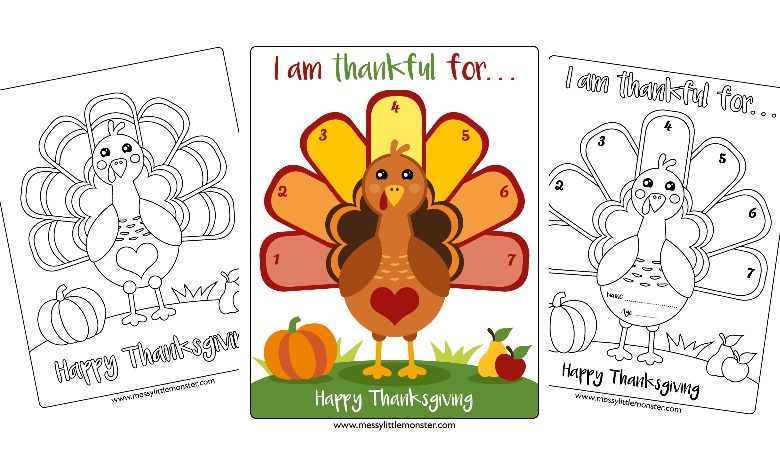 Free printable Thanksgiving Coloring Page - Turkey I am thankful for activity page