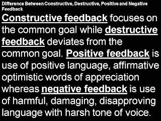 Difference Constructive, Positive, Destructive, Negative Feedback