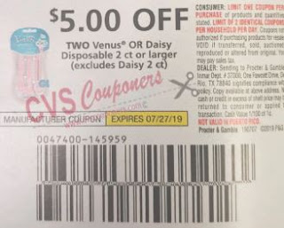 "$5.00/2 Venus OR Daisy Disposable 2 ct or larger Coupon from ""P&G"" insert week of 7/7 (EXP:7/27)"