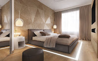Slatted wooden geometric bedroom focal wall design for bedroom accent wall ideas