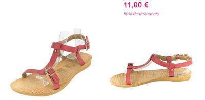 Sandalias planas rojas y baratas