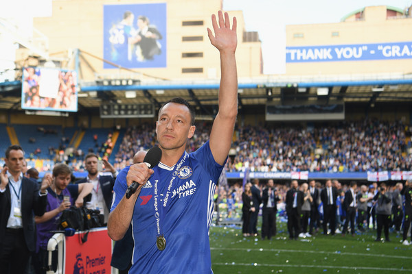 John Terry of Chelsea speaks to the crowd after the Premier League match between Chelsea and Sunderland at Stamford Bridge on May 21, 2017 in London, England