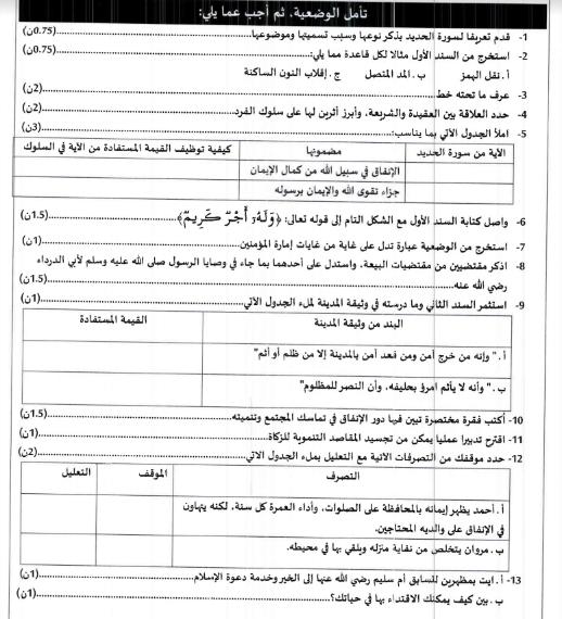 نموذج الامتحان الجهوي الموحد في مادة التربية الاسلامية للسنة
