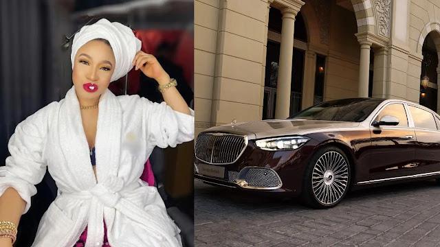 Tonto Dikeh buys herself a MAYBACH car as a birthday gift (Photos)
